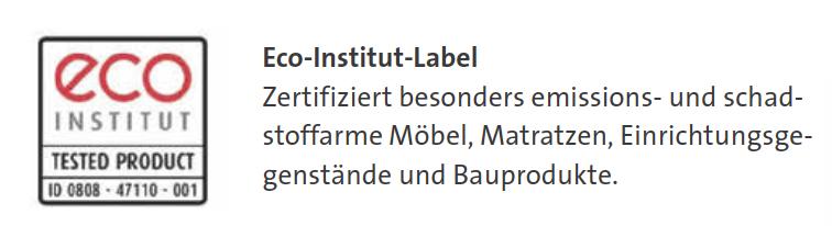 eco-INSTITUT-Label zertifiziert emissionsarme Möbel